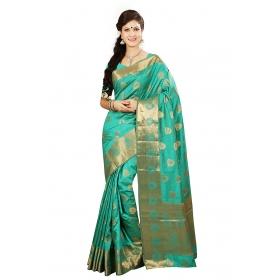 Firstloot Zari Border Buti Pallu Rama Green Color Saree With Blouse
