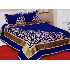 Sky Tex King Size 350 Tc Chenille Blue Color Turkish Style Velvet Bed Sheet With 2 Pillow