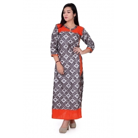 Pari Creation Women's Black Orange Printed Cotton Anarkali Kurti