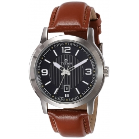 Titan Men's 'neo' Fashion/casual/business/luxury Mineral Quartz Dial -leather/brass And Silver�