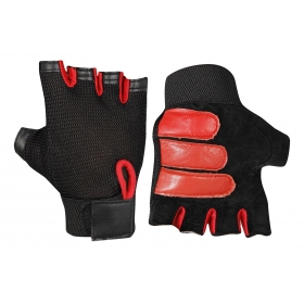 Leather Weight Lifting/gym Gloves (black And Red)
