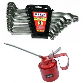 Ketsy 823 Hand Tool Kit 13 Pcs.(8 Pcs.ring Spanner Set,,oil Can 1 Pcs.1/4)