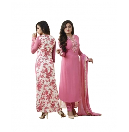 Pink Georgette Suit With Bottom And Dupatta