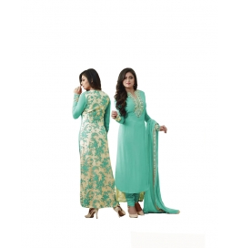 Turquoise Georgette Suit With Bottom And Dupatta