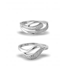Platinum Plated Diamond Ring Combo