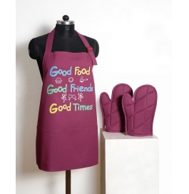 Swayam Graffiti Apron Set (3 Pcs) Free Adjustable Size