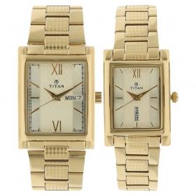 Titan Bandhan Silver Dial Analog Pair Watches (900242562ym01)