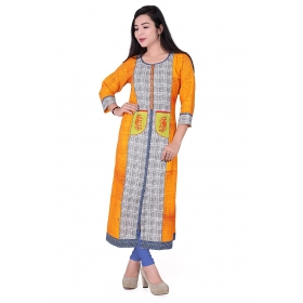 Pari Creation Women's Yellow Printed Cotton Anarkali Kurti