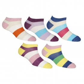 Footmate Women Ankle Stripe Socks (5 Pair Pack)