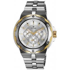 Titan Men's Analogue Silver Dial Watch - 1654bm01