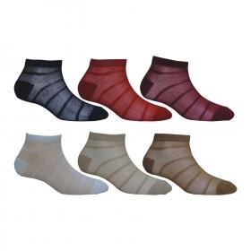 Footmate Women Ankle Fishnet Stripe Socks (6 Pair Pack)