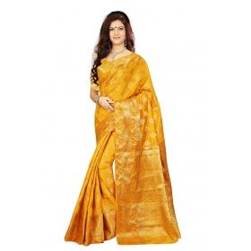 Zari Border Buti Pallu Gold Color Saree With Blouse