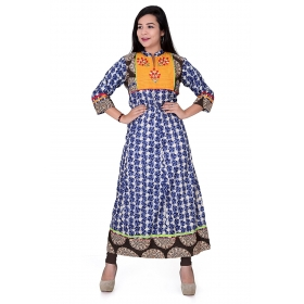 Pari Creation Women's Multi Embroided Cotton Anarkali Kurti