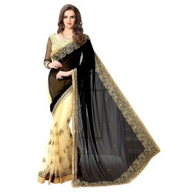 Poplin Floral Embroidered Deisgner Heavy Black Color Party Wear Sarees