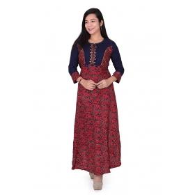 Pari Creation Women's Blue Red Printed Rayon Cotton Anarkali Kurti