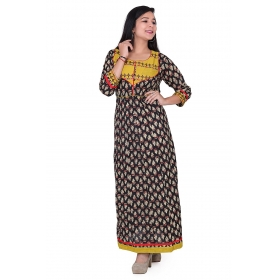 Pari Creation Women's Multi Embroided Cotton Anarkali Kurti
