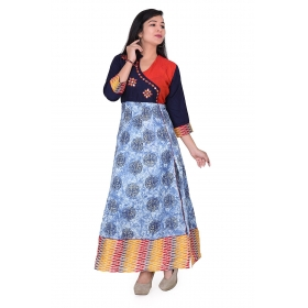 Pari Creation Women's Multi Printed Cotton Anarkali Kurti