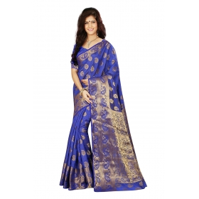 Firstloot Zari Border Buti Pallu Blue Color Saree With Blouse