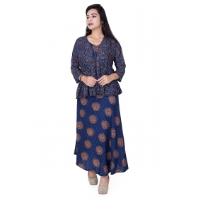 Pari Creation Women's Blue Kotty Cotton Anarkali Kurti