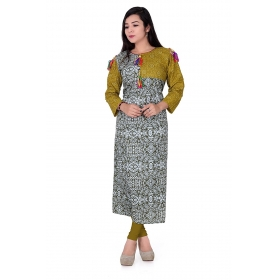 Pari Creation Women's Green Gray Printed Cotton Anarkali Kurti