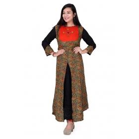 Pari Creation Women's Black Orange Printed Rayon Cotton Anarkali Kurti