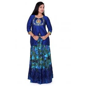 Pari Creation Women's Dark Blue Embroided Silk Slub Rajputi Chaniya