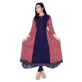 Pari Creation Women's Blue Red Printed Cotton Anarkali Kurti