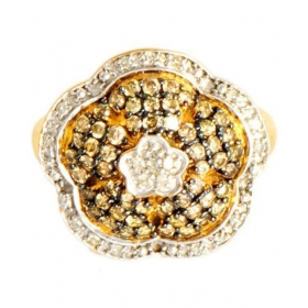 925 Sterling Silver Gold Plated Flower Shaped Ring
