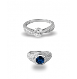 Platinum Plated Diamond Ring Combo