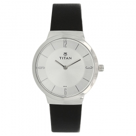 Silver Dial Leather Strap Watch (95033sl01j)