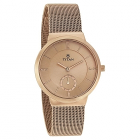 Rose Gold Dial Stainless Steel Strap Watch (95033wm01j