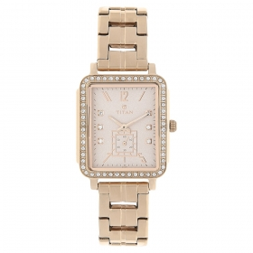 Blush Pink Dial Stainless Steel Strap Watch (95042wm01j)