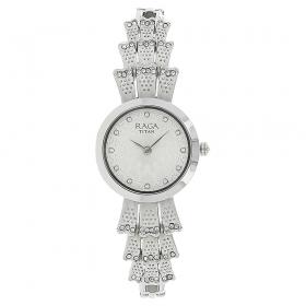 Silver White Dial Metal Strap Watch (95044sm01j)