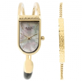 Raga Espana Brillo By Titan Mother Of Pearl Dial Analog Watch For Women (95053ym01f)