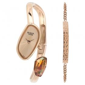 Raga Espana Mosaico By Titan Rose Gold Dial Analog Watch For Women (95055wm01f)