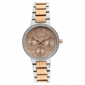 Titan Purple Whimsy Golden Dial Multifunction Watch For Women (95058km01)