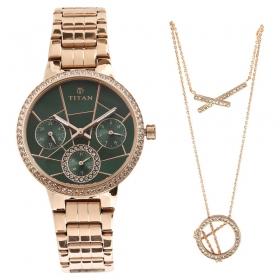 Titan Purple Whimsy Green Dial Multifunction Watch For Women (95058wm01f)