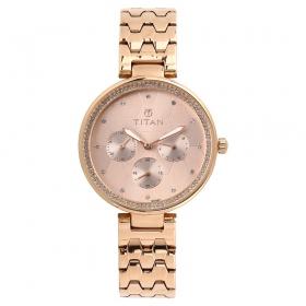 Titan Purple Whimsy Golden Dial Multifunction Watch For Women (95059wm01)