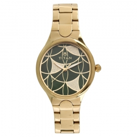 Titan Purple Whimsy Green Dial Analog Watch For Women (95060ym01)