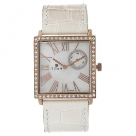 Titan Mother Of Pearl Dial Analog Watch For Women (9961wl01j )