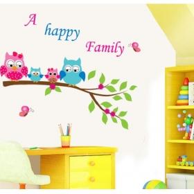 Ay6013 Happy Birds Family Nature Wall Sticker  Jaamso Royals
