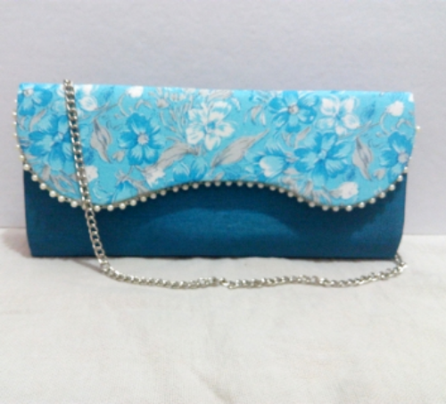 Floral Print Blue Casual Clutch