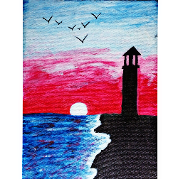 Light House Handmade 9x12 Inch Acrylic On Canvas Painting With Stretcher Frame -thejarvisgallery