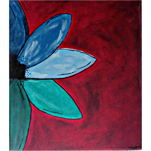 Flower In Darkness Handmade 14x16inch Acrylic And Oil On Canvas Painting With Stretcher Frame -thejarvisgallery