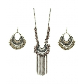 Silver Oxidised Drop Classy Luxury Afghan Tribal Afghani Necklace & Earrings Set