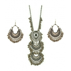 Silver Oxidised High Class Luxury Afghan Tribal Afghani Necklace And Earrings Set