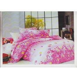 Double Bedsheet With 2 Pillow Cover Pink Color Floral Design