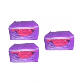 Purple Saree Covers - 3 Pcs
