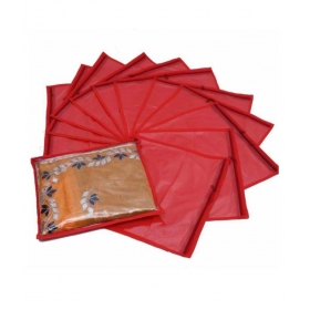 Red Saree Covers - 12 Pcs