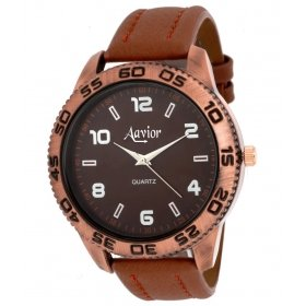 Aavior Brown Leather Analog Watch For Men Aa-081